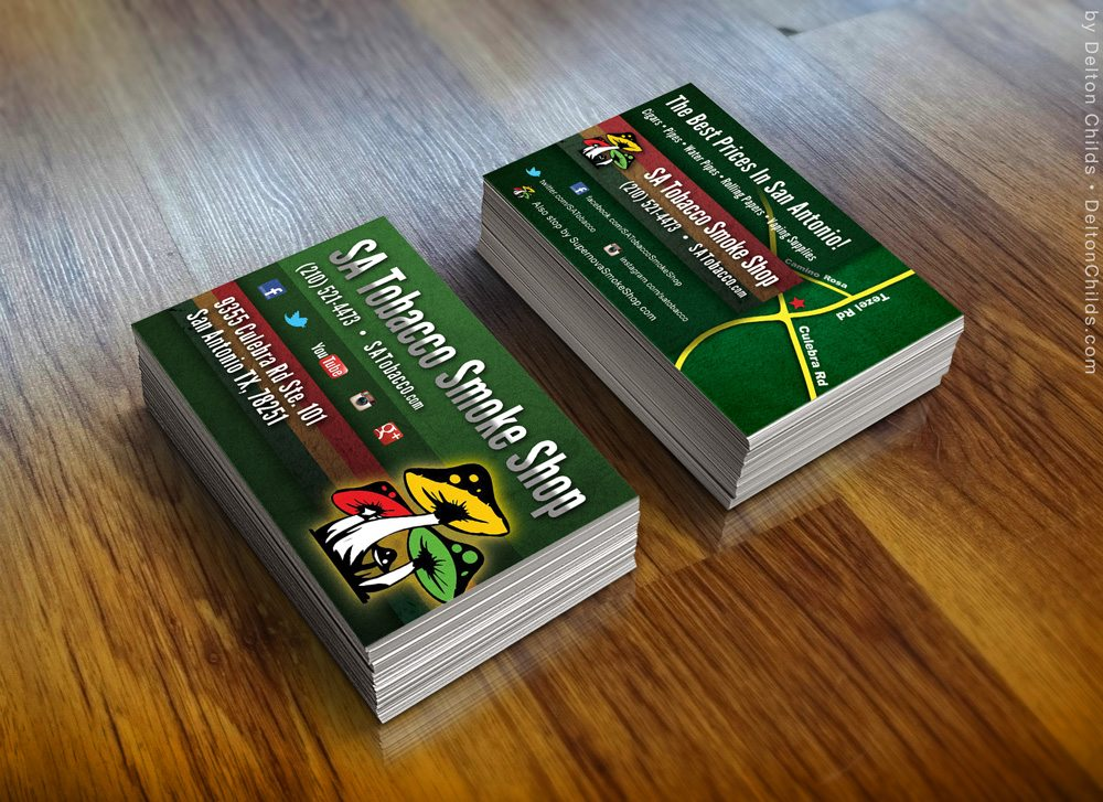 Counter Top Business Card Design for SATobacco Smoke Shop
